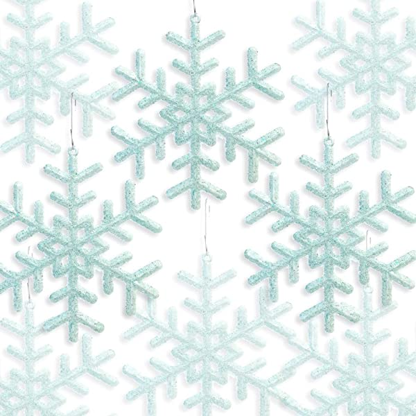 BANBERRY DESIGNS Blue Green Snowflakes Set Of 24 Snowflake Ornaments Approx 5 Inch Frosted Look Blue Green Fuzzy Snowflakes Winter Baby Shower Essentials