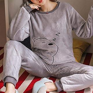 Pijama Mujer Invierno Conjunto De Pijamas De Mujer De Felpa Cálida Otoño Invierno Franela Gruesa Hogar Primavera Dibujos Animados Estudiante Ropa De Dormir 2 Piezas/Conjunto De Gran Tamaño