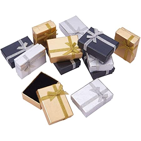 PandaHall Elite ギフトボックス 12個 ラッピングボックス 長方形 ミックス 蝶結び リボン付き アクセサリー紙箱 長方形 プレゼント用箱 多用ケース 紙箱 70x50x25mm カラフル 小物入れ ジュエリーアクセサリーボックス