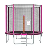 Ronvir 12FT(H280cm) Trampoline Ø 366cm 8pcs Barres Trampoline de Extérieur Rose avec Filet de Sécurité, Échelle, Recouverts, etc, pour Le Divertissement Jardin