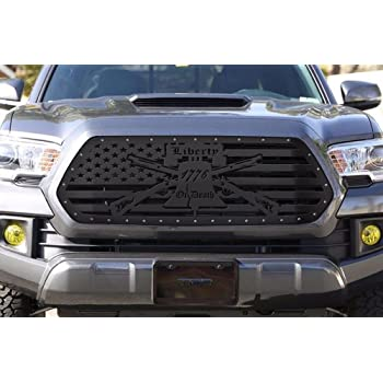 300 Industries Steel Grille Replacement for Toyota Tacoma 2016-2017 - Single Piece Powder Coated Satin Black - Liberty or Death