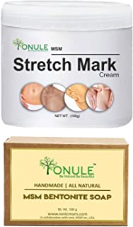 Ionule MSM Stretch Mark Cream with Bentonite Soap for Men and Women Combo Pack of 2 - (2 X 90 gm)