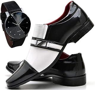 Sapato Social de Verniz Preto e Branco Masculino + Relógio Luxo