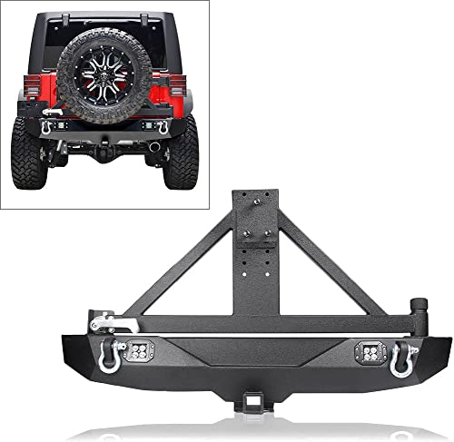 wholesale Mallofusa Rear Bumper with Tire Carrier LED lowest Lights Hitch Receiver D-Rings Compatible for 07-16 Jeep online sale Wrangler JK online