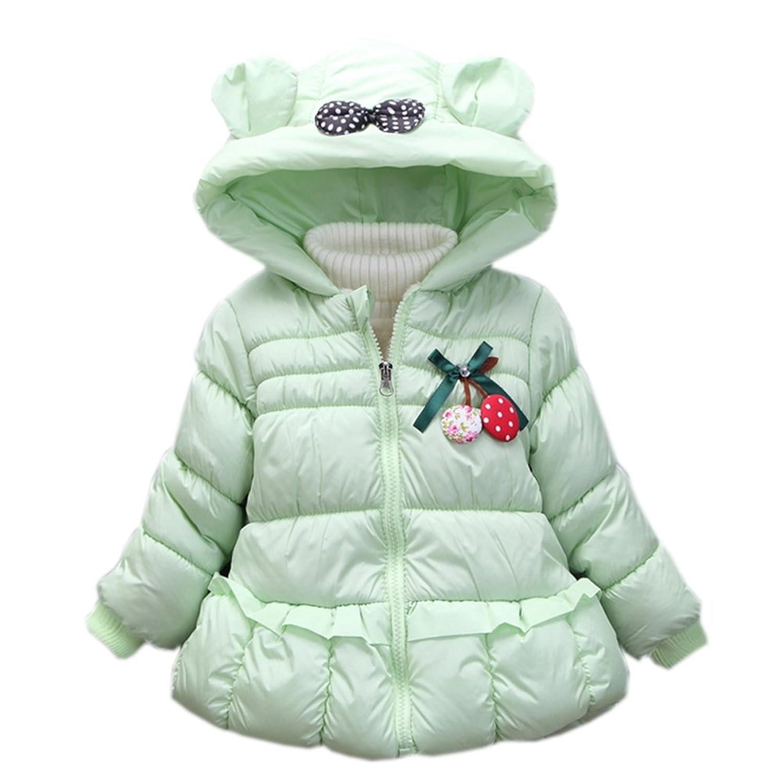 fulaixi冬ファッション防寒 保温 綿入れの上着コート 子供服/子供用コート 甘い可愛い赤ちゃん服 コート (100, 淺グリーン)