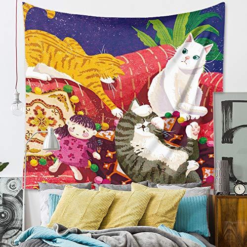 WERT Dibujos Animados Lindo Gato Tapiz Colgante de Pared habitación de los niños Dormitorio decoración Colorido Animal Tapiz Tela de Fondo A2 150x200cm