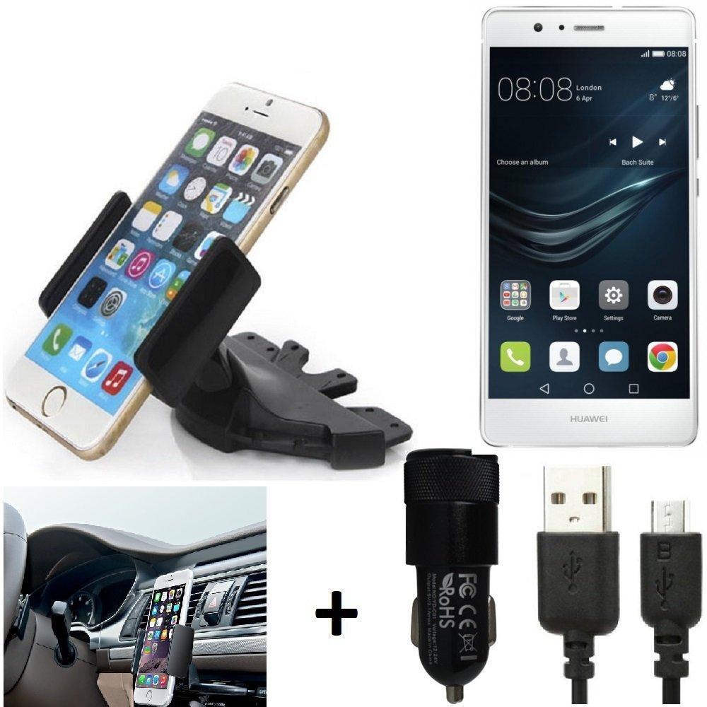 K-S-Trade® Top Set para Huawei P9 Lite Soporte Ranura De CD Smartphone Coche para Los Dispositivos De Navegación/Teléfonos Inteligentes Montaje De La Radio Hecho Smartphone Teléfono Móvil: Amazon.es: Electrónica