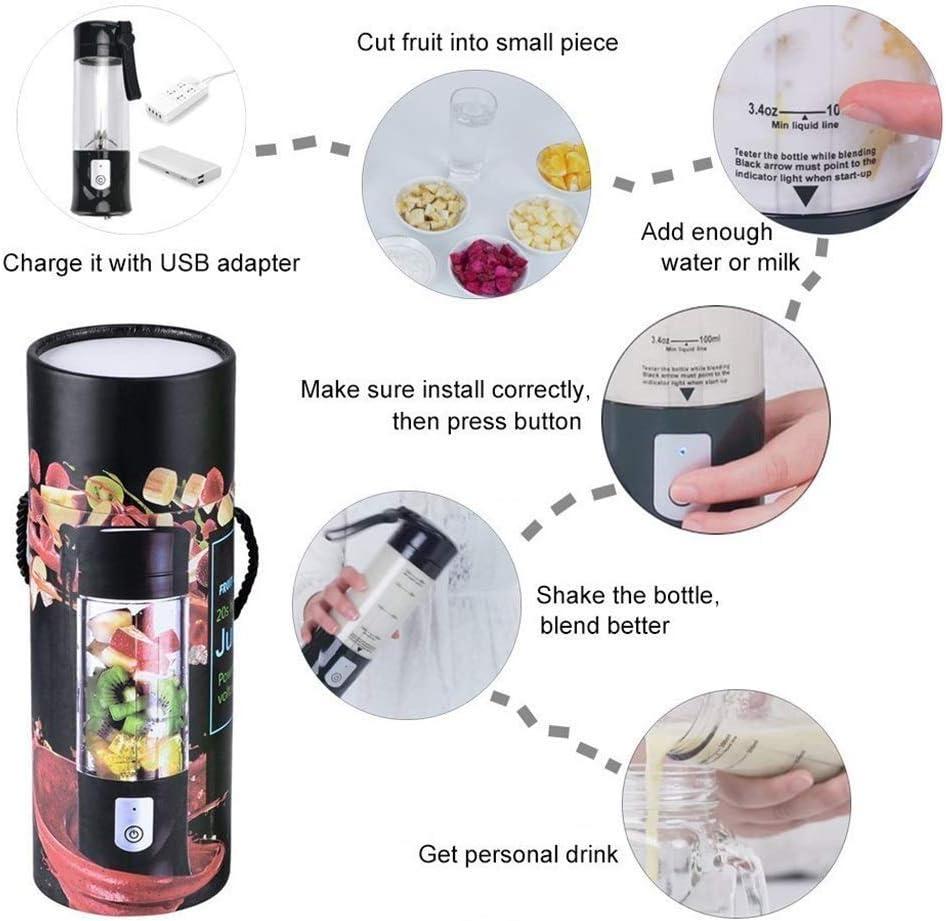 Mini tasse portative de presse-fruits USB de fruits de voyage, petite machine électrique personnelle de mélangeur de mélangeur de jus barir (Color : Green) Pink
