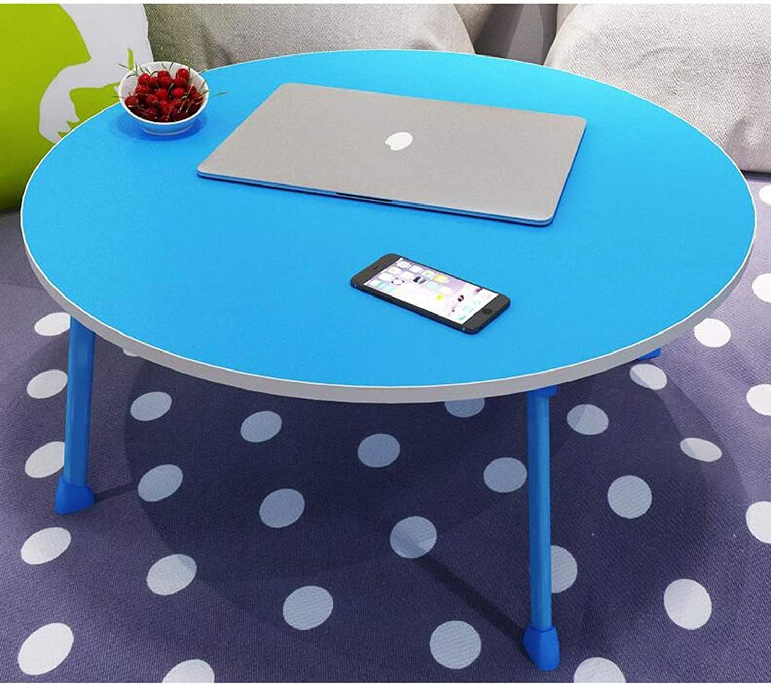 JSFQ Small Folding Table for Bed - College Desk - 60 X 60 X 28cm, Metal Folding Table, Round Table Folding Table (color   F)