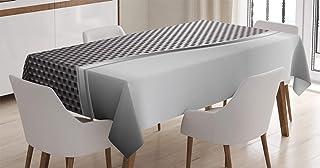 ABAKUHAUS Gris Nappe, Carré Grids Shaped, Linge de Table Rectangulaire pour Salle à Manger Décor de Cuisine, 140 cm x 240 ...