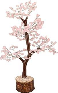 ZAICUS Rose Quartz Gemstone Money Tree Feng Shui Bonsai For Reiki Healing Stone Chakra Balancing Aura Cleansing Good Luck Energy Generator Spiritual Gift Home Table Office Decor Silver Wire 10-12 Inch