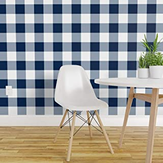 Spoonflower Pre-Pasted Removable Wallpaper, Navy Blue White Squares Gingham Buffalo Check Tavern Check Print, Water-Activated Wallpaper, 24in x 36in Roll