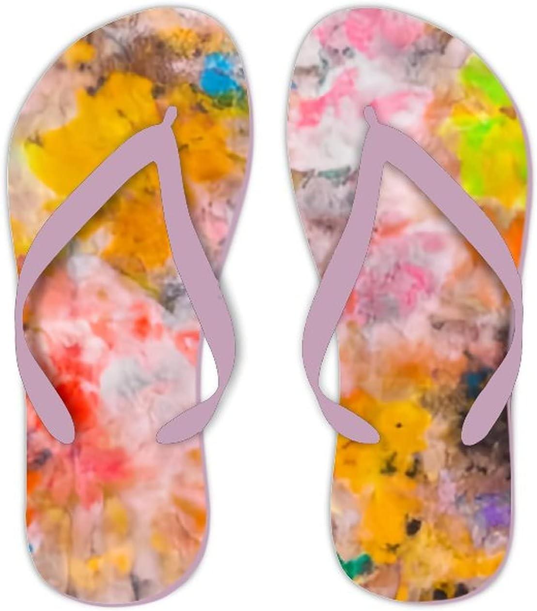 UTF4C Summer Flip Flops for Men Women Bright Watercolor Stains Soft Lightweight Non Slip Sandals for Shower Beach Pool Bathroom Flat 12.5