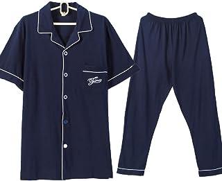 パジャマ 綿100% ルームウェア 半袖&長ズボン 上下セット 前開き 衿付き ポケット付き ふんわり シンプル 吸汗 通気 肌に優しい 部屋着 春?夏?秋用