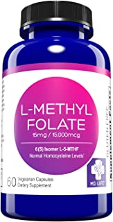 MD. Life L-Methylfolate 15 mg Active Folate 5 mthfr support supplement - Professional Strength Methyl Folate - Immune Support, Essential Amino Acids & Brain Supplement- Vegan 60 Purple Carrot Capsules