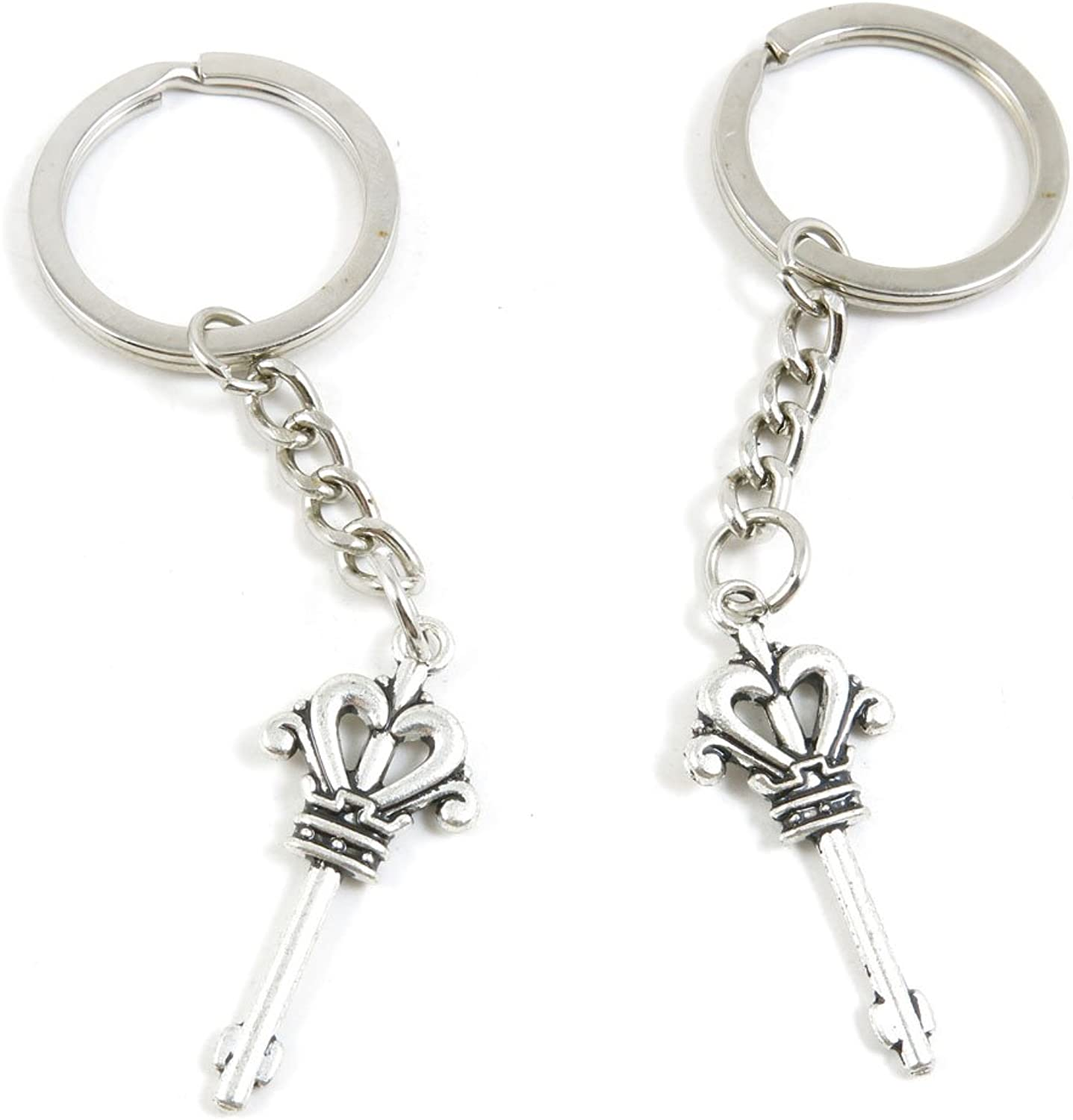 100 Pieces Keychain Keyring Door Car Key Chain Ring Tag Charms Bulk Supply Jewelry Making Clasp Findings G6FG0G Crown Skeleton Key