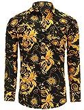 Jandukar Uomo Cotone Manica Lunga Camicia Stampata(Giallo,XL)