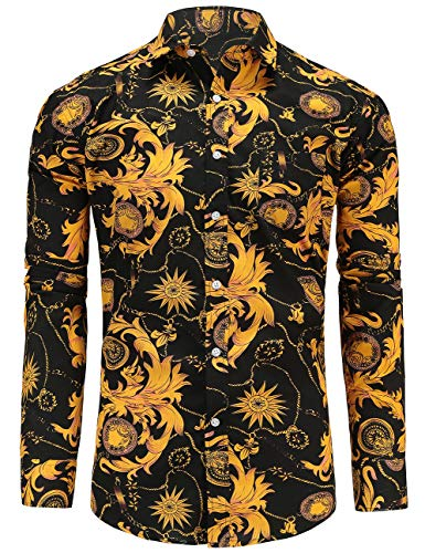 Jandukar Uomo Cotone Manica Lunga Camicia Stampata(Giallo,3XL)