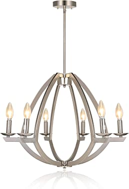 "Hykolity 6-Light Chandelier, Contemporary Dining Room Pendant Lighting Fixture, Brushed Nickel Finish, 17.63"" H x 23"" W"