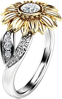 Promise Ring, Muranba Sterling Silver Floral Round Diamond Sunflower Ring for Women