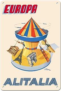 22cm x 30cmヴィンテージハワイアンティンサイン - ヨーロッパ - カルーセル、エッフェル塔、ビッグベン - アリタリア航空 - ビンテージな航空会社のポスター によって作成された アミエート・フィオーレ c.1956