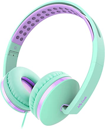 Jelly Comb On Ear Headphones with Mic, Foldable Corded...