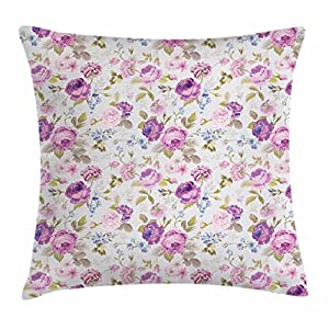 Lunarable Shabby Flora Throw Pillow Cushion Cover, Floral Arrangement from Fresh Plants Spring Season Blossoming Nature…
