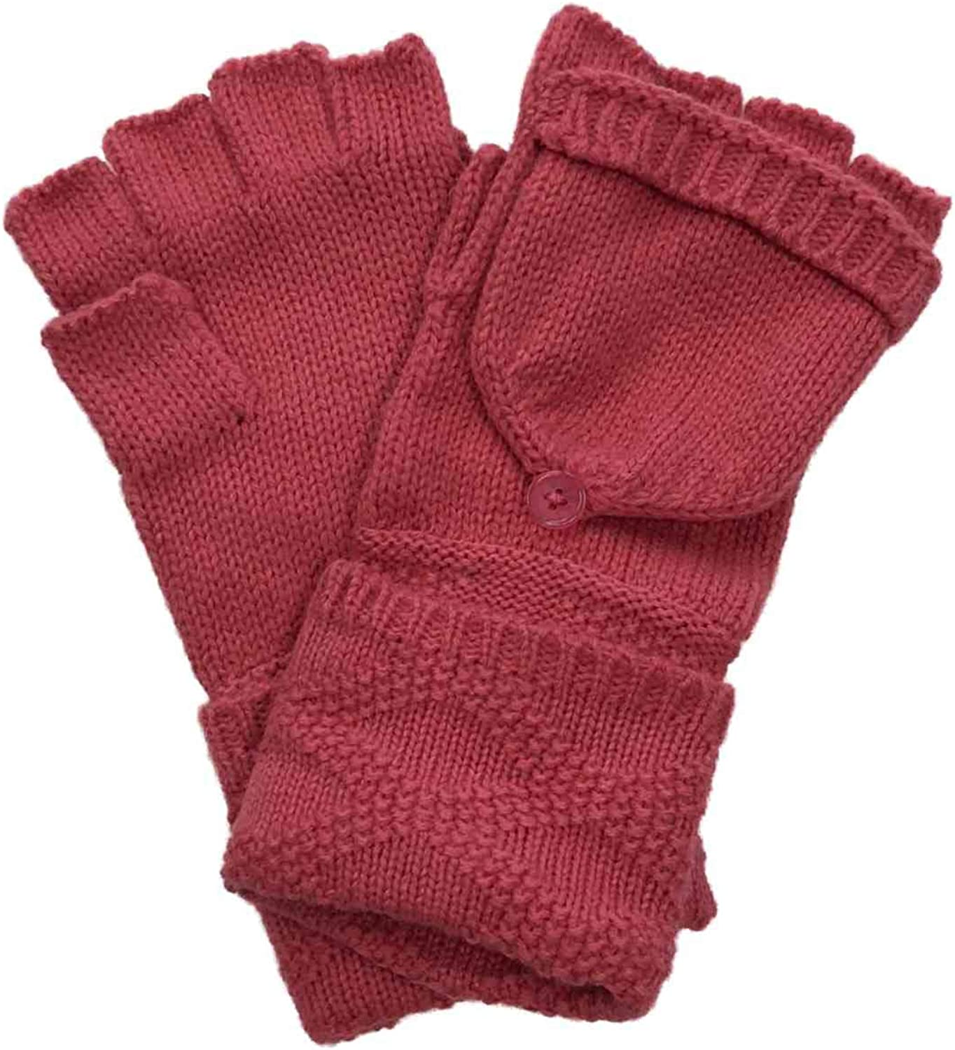 Womens Cuffed Pink Cable Knit Fingerless Flip Top Convertible Gloves