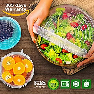 Silicone Stretch Lids 6 Pack, Reusable Food Covers; Various Sizes for plates bowls and Cup in Refrigerator, Wrap Stretch Top Lid Suction, BPA Free Microwave Storage Organizer