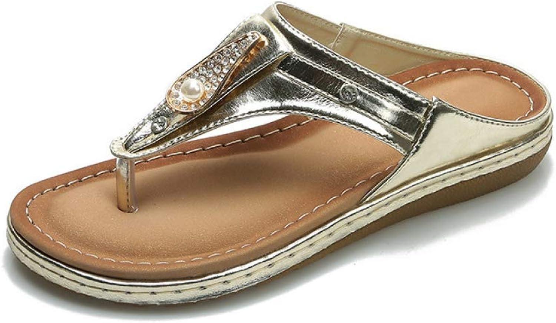 MEIZOKEN Women Crystal Slippers Non-Slip Flip Flops Casual Ladies Outdoor Slippers Summer Beach Sandals