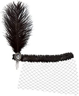 Claire's Girl's Feather Sequin Netted Flapper Headwrap - Black