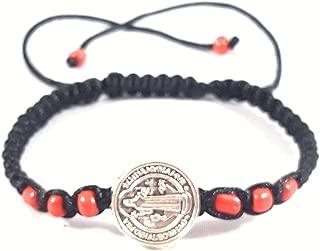 Saint Benedict Black Bracelet with Red Beads Pulsera Color Negro De San Benito Con Rojo