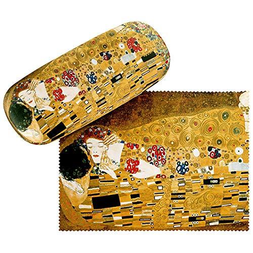 VON LILIENFELD Brillenetui Gustav Klimt Der Kuss Liebe Box Hardcase Leicht Edel Geschenk Stabil Set mit Putztuch Kunst