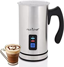 NutriChef Upgraded Dual Electric Milk Frother and Warmer - Sleek Compact Stainless Steel Steamer w/ Automatic Power Off Function and LED Light Indicator Perfect for Foamer and Creamy Latte - PKMFR14