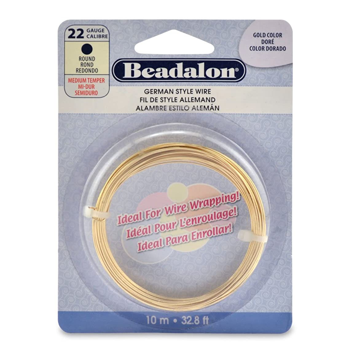 Beadalon German Style Wire, Round, Gold Color, 22 gauge-10 Meters