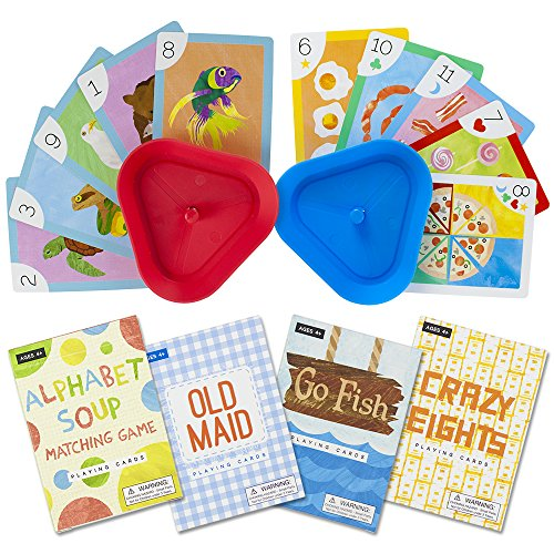 Imagination Generation Set of 4 Classic Children#039s Card Games with 2 HandsFree Playing Card Holders – Includes Old Maid Go Fish Crazy Eights amp Alphabet Soup Matching Game