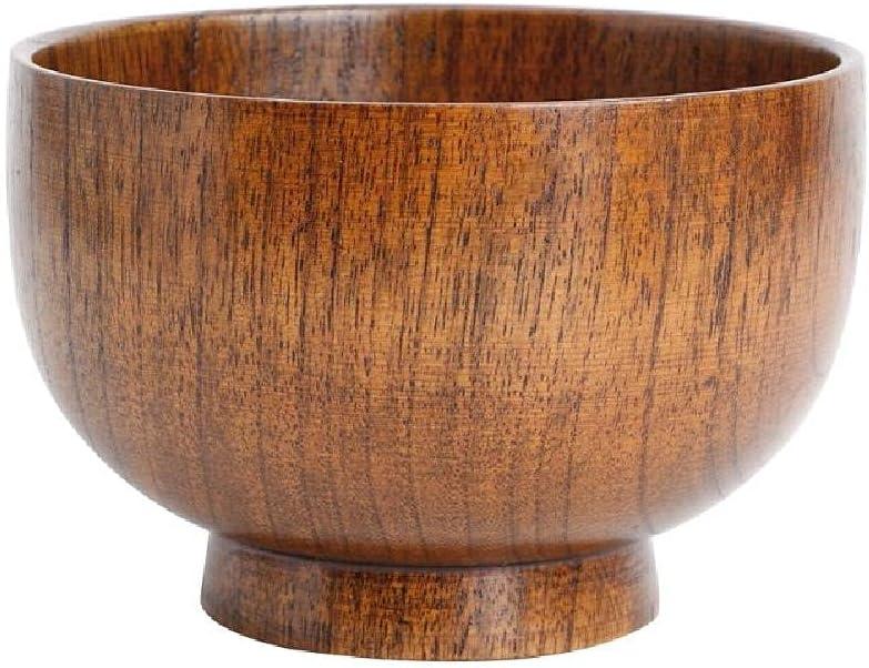 YUSHU - 1 cuenco de arroz a rayas de troncos naturales - Cuenco de madera para ensalada de arroz y ramen - Cuenco de sopa de arroz de madera azufaifa - Recipiente para alimentos - Utensilios de cocina