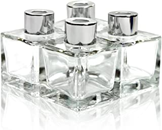 Feel Fragrance Glass Diffuser Bottles with Silver Caps Refillable Diffuser Bottles Set of 4-2.5