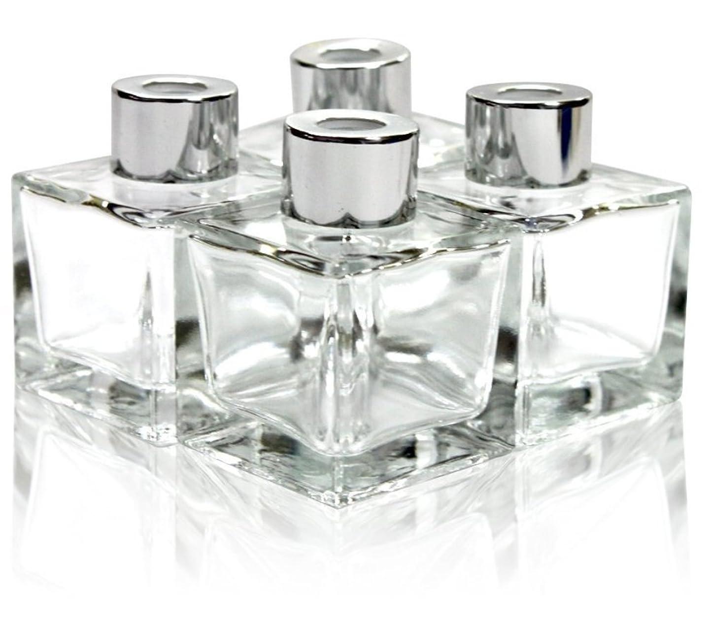 無限大可動セクタFeel FragranceガラスDiffuser Bottles withシルバーキャップのセット4?–?2.5インチ高、50?ml 1.7?FL OZ SMALL SQUARE SHAPE、Fragranceアクセサリー使用、DIY交換用リードディフューザーセット