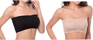 Women's Plus Size Padded Bandeau Strapless Bras Stretch Tube Top