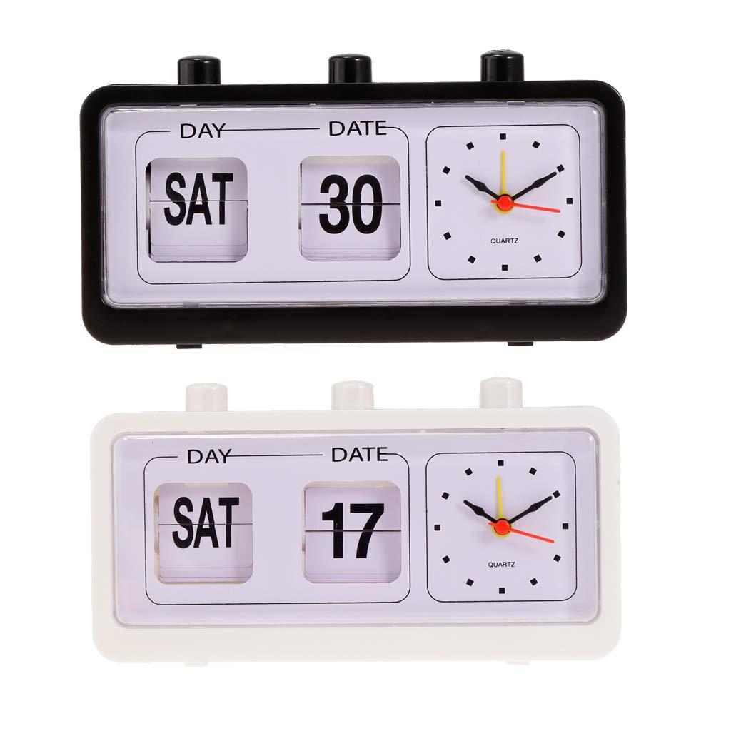 SFIC LTD R/éveil Manuel Digital Jour Date Semaine Calendrier Bureau Alarme R/éveil /à Quartz Blanc//Noir//Rose