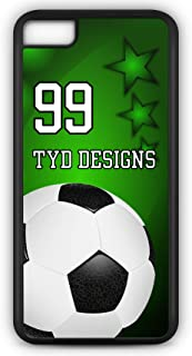 Cell Phone Case Fits iPhone Model 6 Plus or 6+ Create Your Own Soccer SC1013 with Player Jersey Number and/Or Name Or Team Name Customizable by TYD Designs in Black Rubber