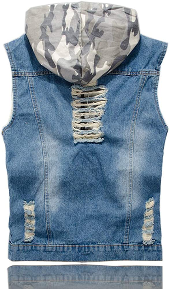NEW DOHAOOE Men's Dealing full price reduction Camo Ripped Denim Vest Stitching Outdoo Retro