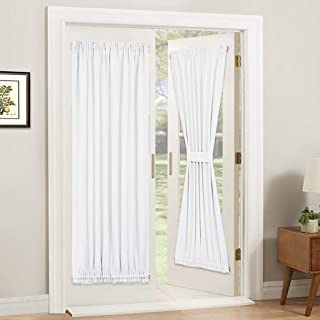 PONY DANCE Glass Door Curtain - Window Treatments Panels Solid Energy Efficient Rod Pocket for Metal French Patio Door Panel with Tieback, 54 x 72 inches, Pure White, Single Piece