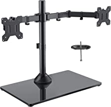 Freestanding Dual Monitor Stand - Adjustable Monitor Mount with Glass Base, Fits 2 Screens up to 27 Inch, Holds up to 22lbs per Arm