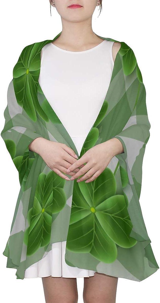Large Scarf Lightweight Cartoon Cute Green Four-leaf Clover Fashion Scarfs Women Shawl Evening Wrap Lightweight Print Scarves Summer Scarf Head Wrap Scarf