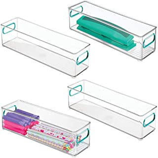 """$26 » mDesign Plastic Stackable Home, Office Storage Bin, Desk and Drawer Organizer Tote with Handles for Storing Gel Pens, Erasers, Tape, Pencils, Highlighters, Markers - 14.5"""" Long, 4 Pack - Clear/Blue"""