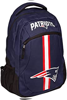 Boys NFL New England Patriots Theme Backpack, Sports Patterned Stripe School Bag, Football Team Logo, Fan Merchandise, Team Spirit, National Football League, Laptop Compartment, Lightweight, Blue Red