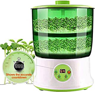 Bean Sprouts Machine Home, Automatic Intelligence Electronical Seed Sprouts Maker Food Grad PP Material 2 Layers Large Capacity Power-Off Memory Function Sprouter
