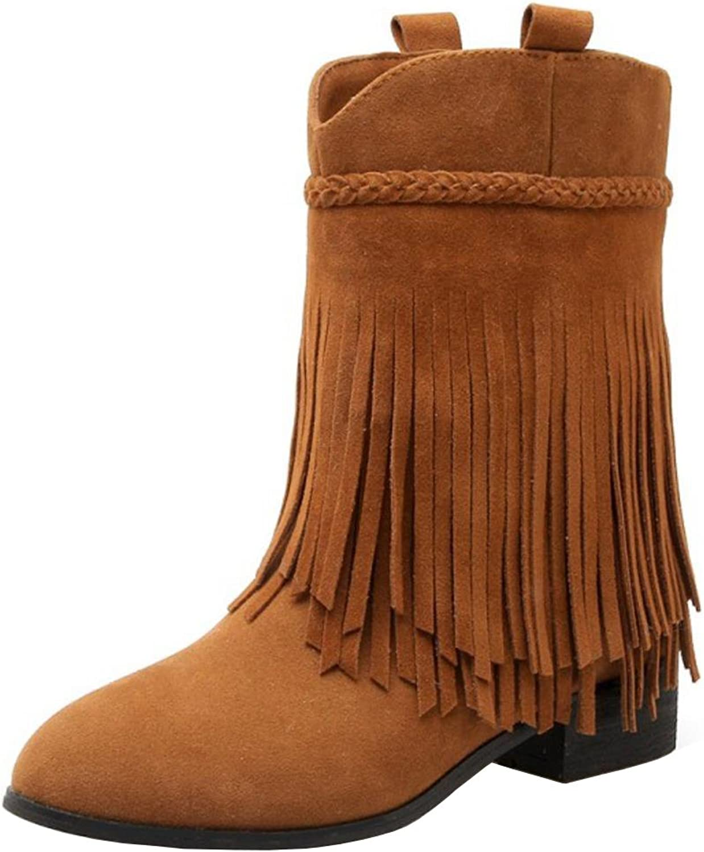 AicciAizzi Women Classic Fringe Boots Pull On